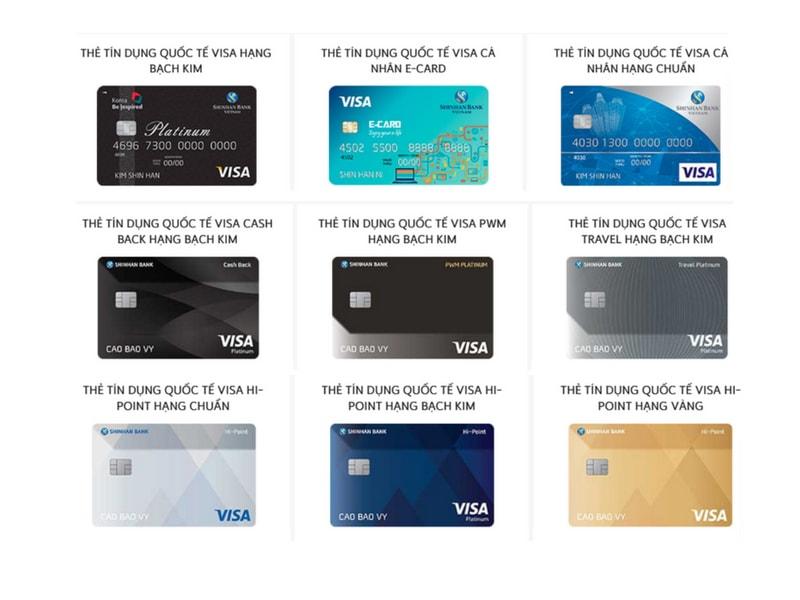 Các loại thẻ tín dụng Shinhan Bank