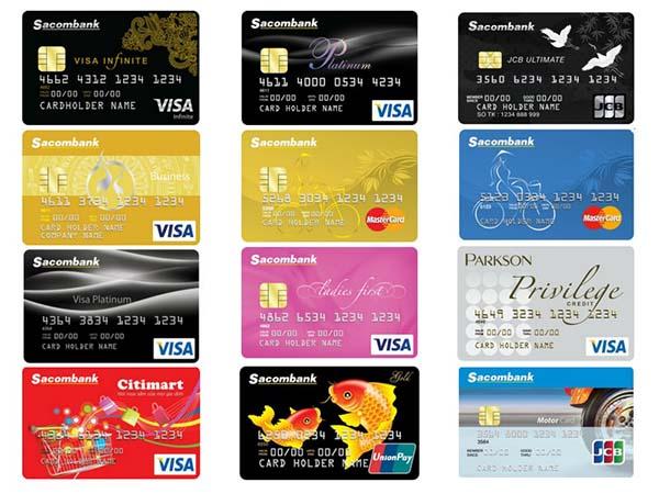 Một số loại thẻ tín dụng Sacombank